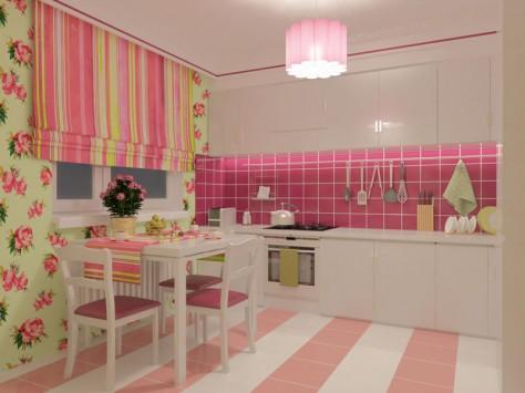 Интерьер кухни 9 м² (обзорный вид при искусственном освещении)