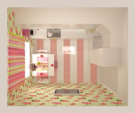 Интерьер кухни 9 м² (вид сверху)