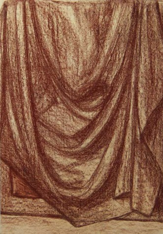 Драпировка. Тонированная бумага, масляная пастель.
