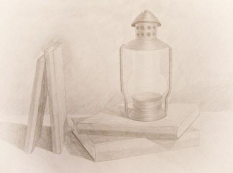 """Натюрморт """"Лампа на книгах"""""""