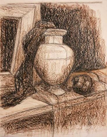 """Натюрморт """"Ваза на окне"""". Тонированная бумага, масляная пастель."""
