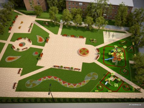Сквер с детской площадкой. Вид сверху.