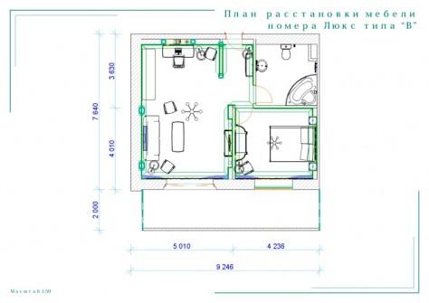 """План расстановки мебели номера Люкс типа """"В"""""""