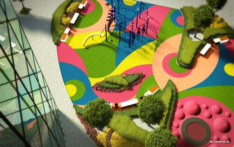 Игровая зона и зона отдыха у торгового комплекса