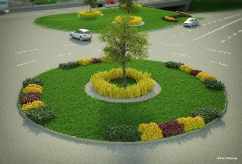 Озеленение зоны кругового движение на дороге