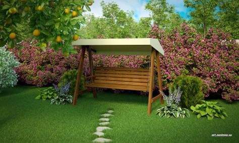 Зона уединения - вокруг Рододендроны, хосты, шаровидная Туя Тини-Тим