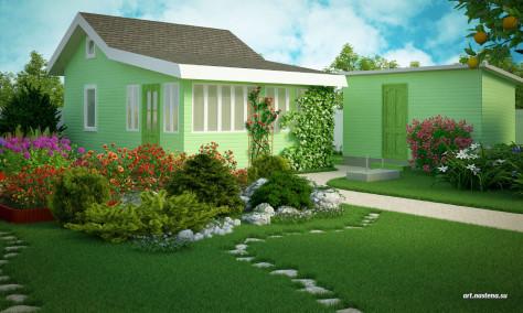 Лужайка с хвойной композицией, розарием и хоз. постройками